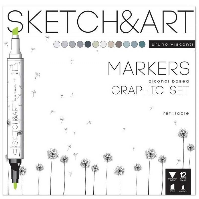 Sketch&Art Набор маркеров двухсторонних маркеров Графика 12 цветов