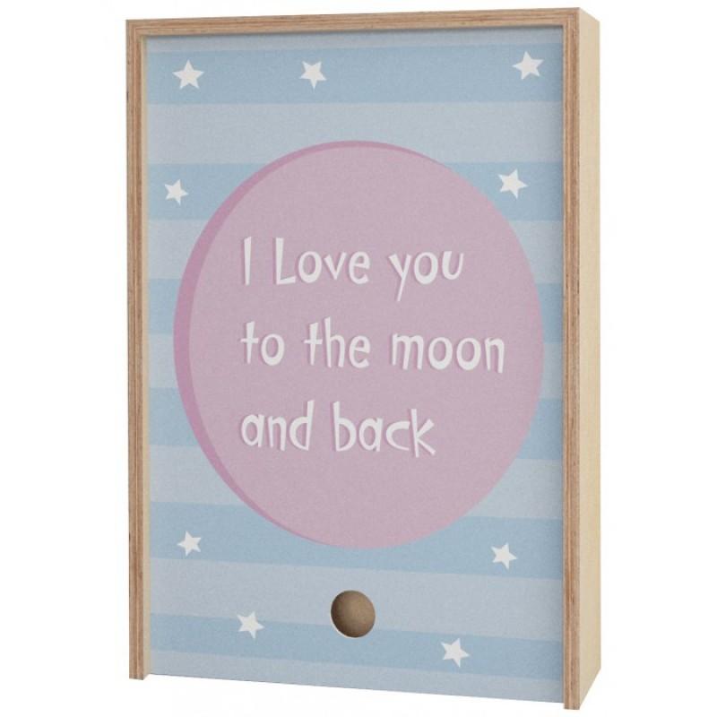 Акушерство Деревянная подарочная коробка Memory Box I love you to the moon and back 38х25х10 см