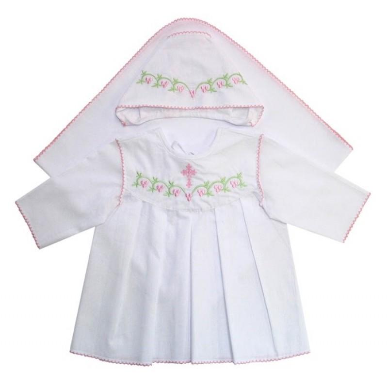 Ангелочки Крестильный набор для девочки с обработкой Краше поплин