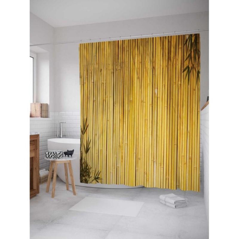 JoyArty Штора занавеска из сатена с крючками Бамбуковые стебли 200х180 см