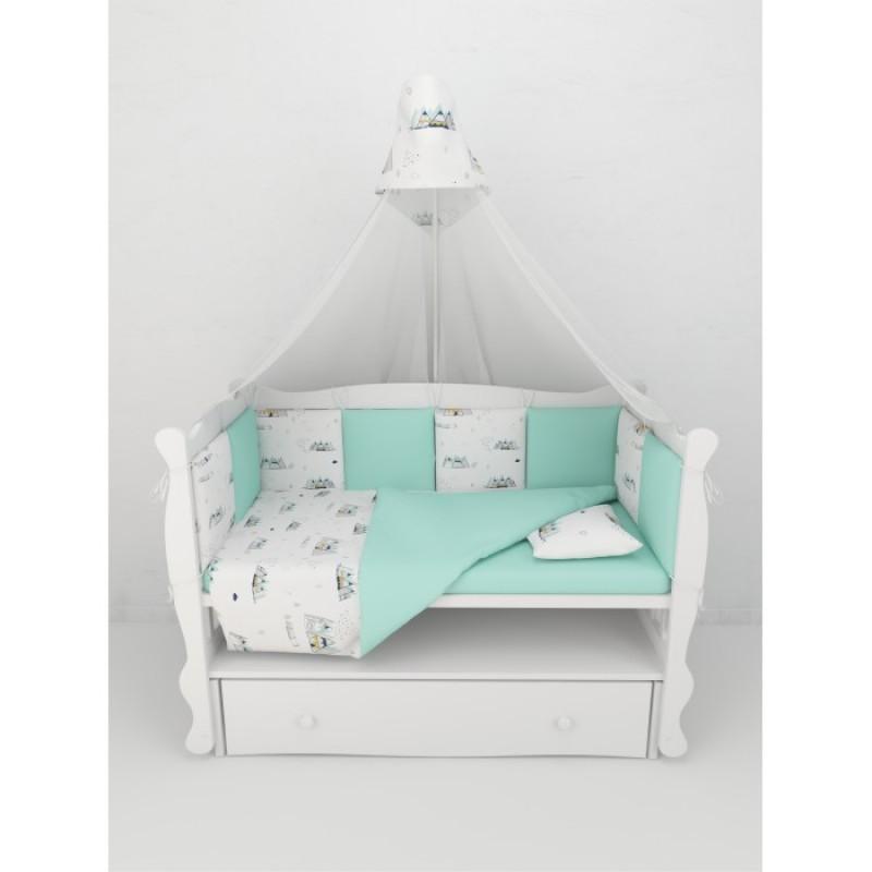 Бортик в кроватку AmaroBaby на молнии Горы (4 подушки)