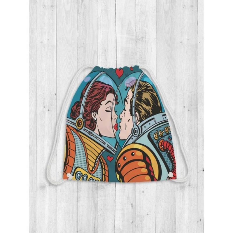 JoyArty Сумка рюкзак-мешок для обуви и вещей Космическая влюбленность 40х38 см