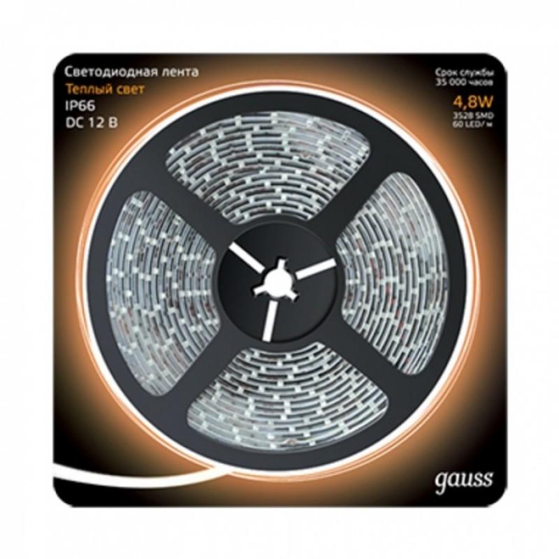 Светильник Gauss Лента LED 2835/60-SMD IP66 4.8W 12V 3000K 5 м