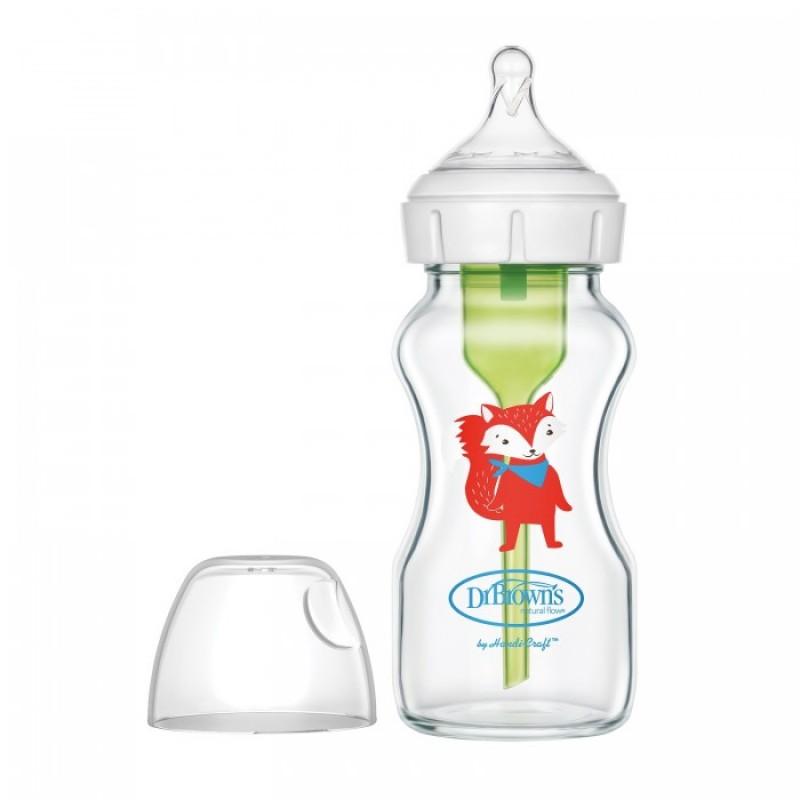 Бутылочка Dr.Brown's Антиколиковая Options+ с широким горлышком с соской от 6 месяцев Стеклянная Лисичка 270 мл