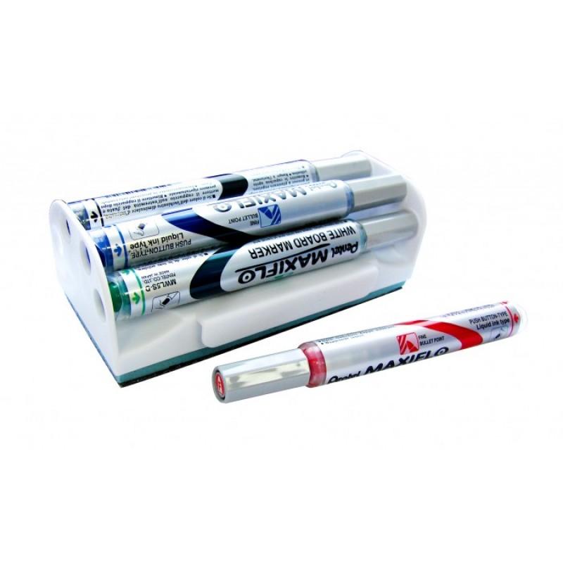 Pentel Набор маркеров для досок с магнитной губкой Maxiflo 4.0 мм 4 цвета