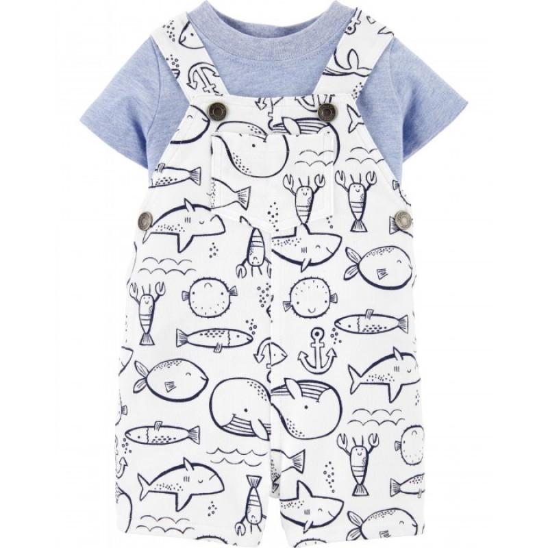 Carter's Комплект для мальчика (футболка, полукомбинезон)