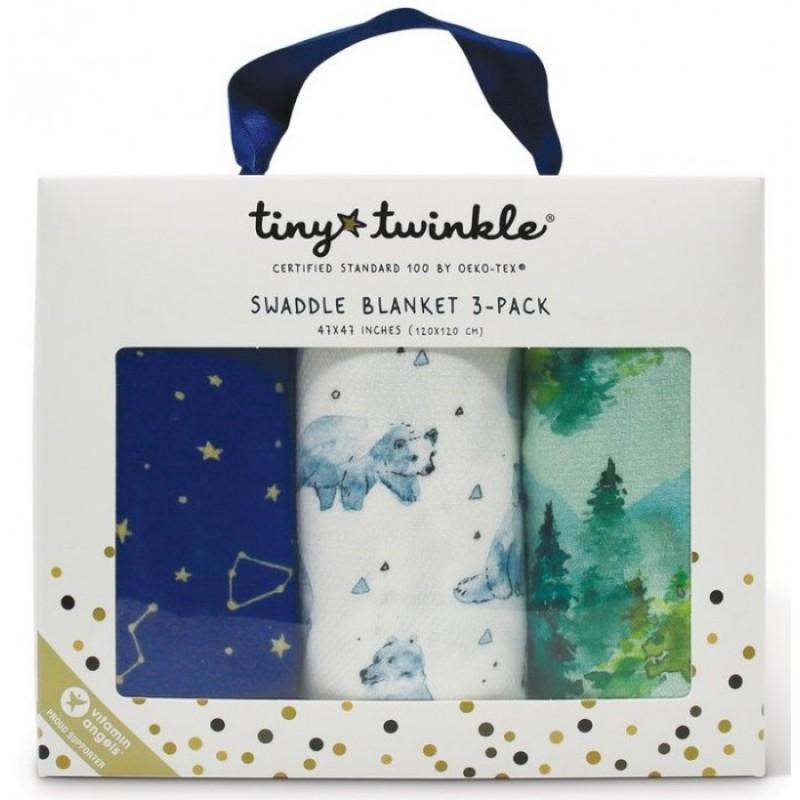 Пеленка TinyTwinkle Лес, Белые мишки, Звездное небо 120х120 см 3 шт.