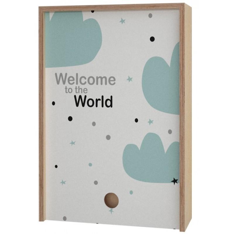 Акушерство Деревянная подарочная коробка Memory Box Welcome to the World 38х25х10 см