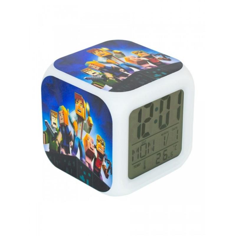 Часы Pixel Crew будильник Герои игры пиксельные с подсветкой
