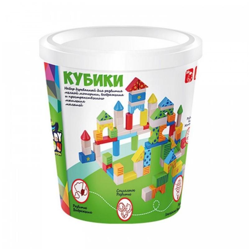 Деревянная игрушка Bondibon Игровой набор строительные Кубики 80 деталей