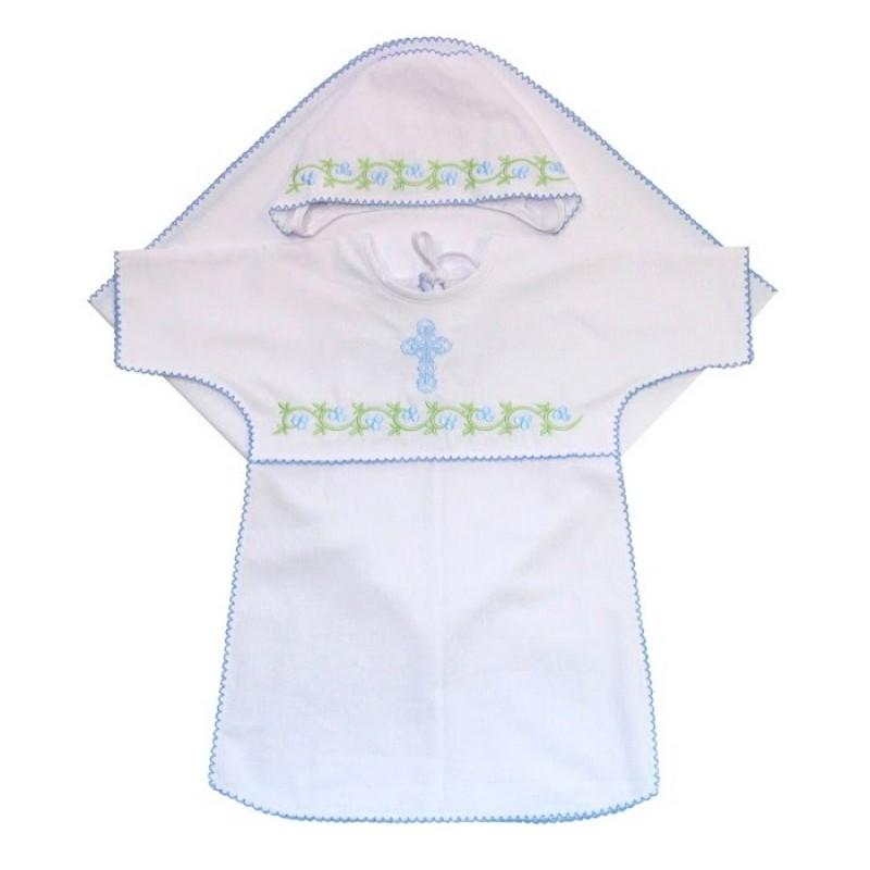 Ангелочки Крестильный набор для мальчика с обработкой Краше поплин